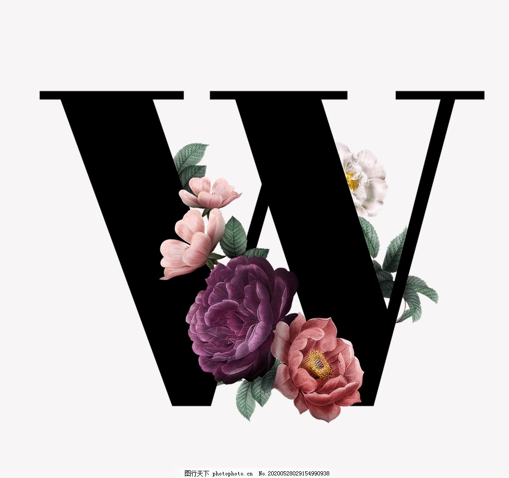 花,字母,W,模版,唯美,水彩,花朵
