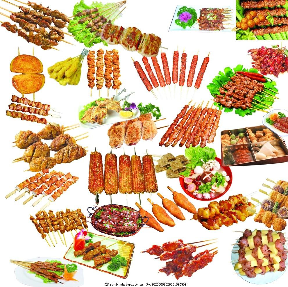 烧烤素材,夜市,烤串,BBQ,羊肉串,孜然,辣椒